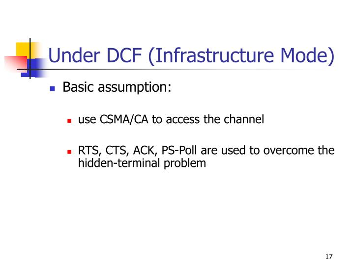 Under DCF (Infrastructure Mode)