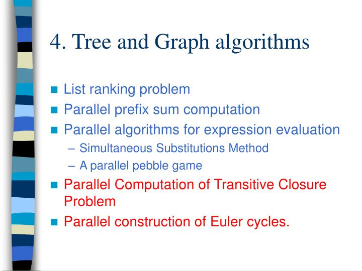 4. Tree and Graph algorithms