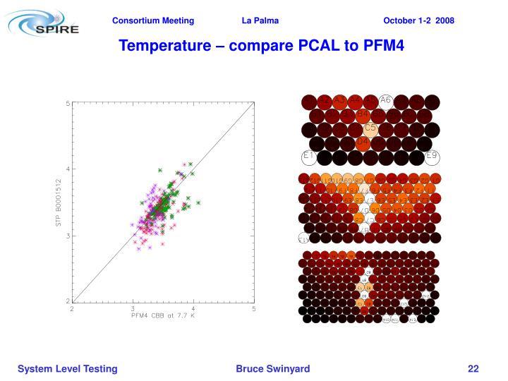 Temperature – compare PCAL to PFM4
