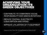 achieving your organization its green objectives