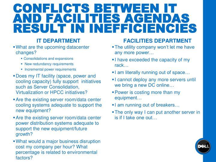 CONFLICTS BETWEEN IT AND FACILITIES AGENDAS RESULT IN INEFFICIENCIES