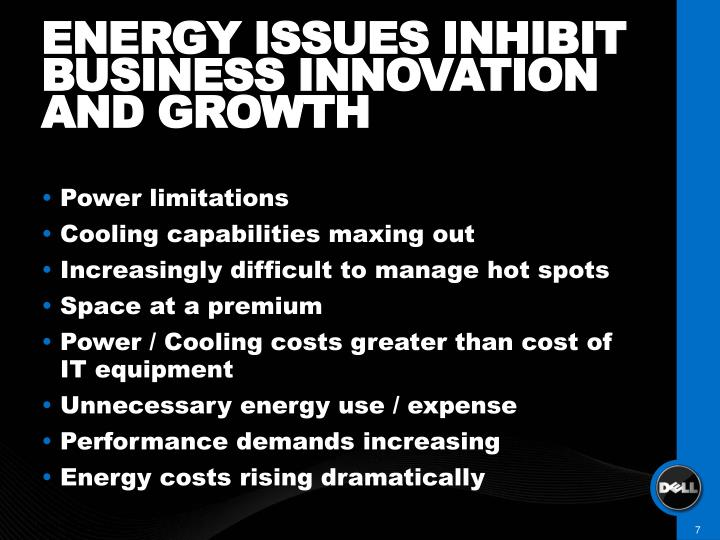 ENERGY ISSUES INHIBIT BUSINESS INNOVATION AND GROWTH