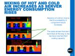 mixing of hot and cold air increases as server energy consumption rises
