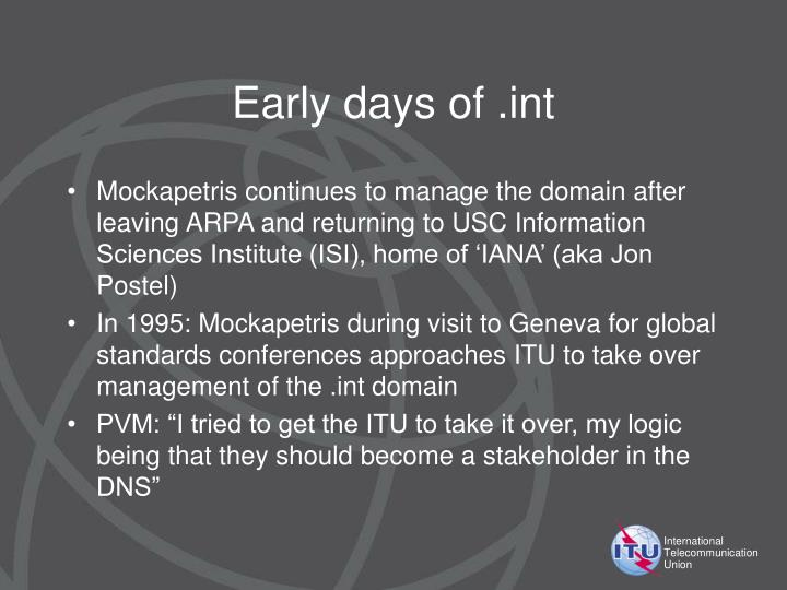 Early days of .int