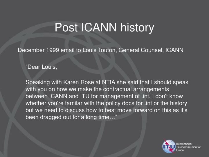 Post ICANN history
