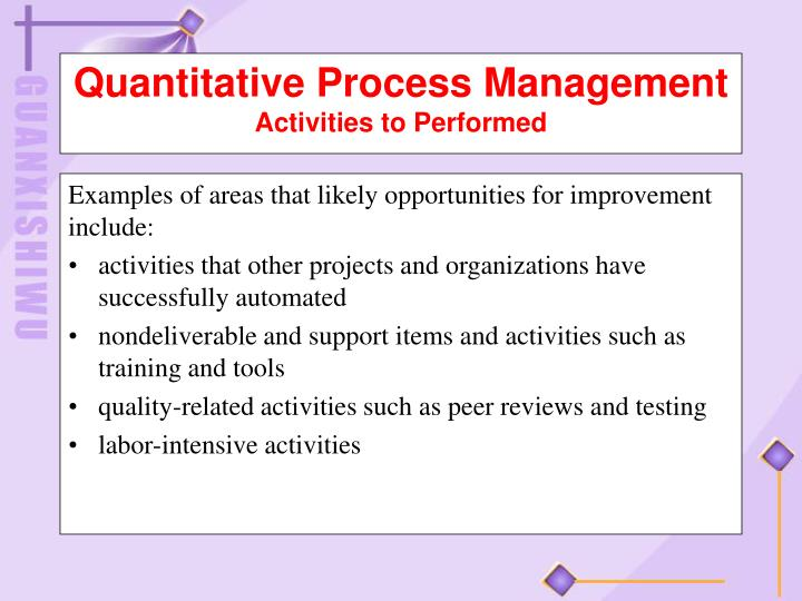 Examples of areas that likely opportunities for improvement
