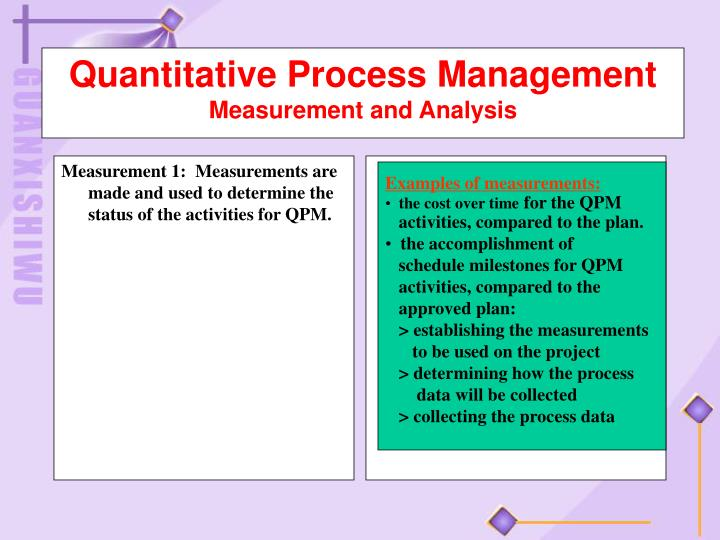 Measurement 1:  Measurements are made and used to determine the status of the activities for QPM.