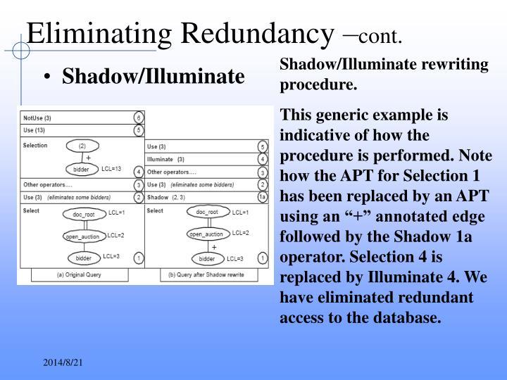 Eliminating Redundancy –