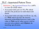 tlc annotated pattern trees