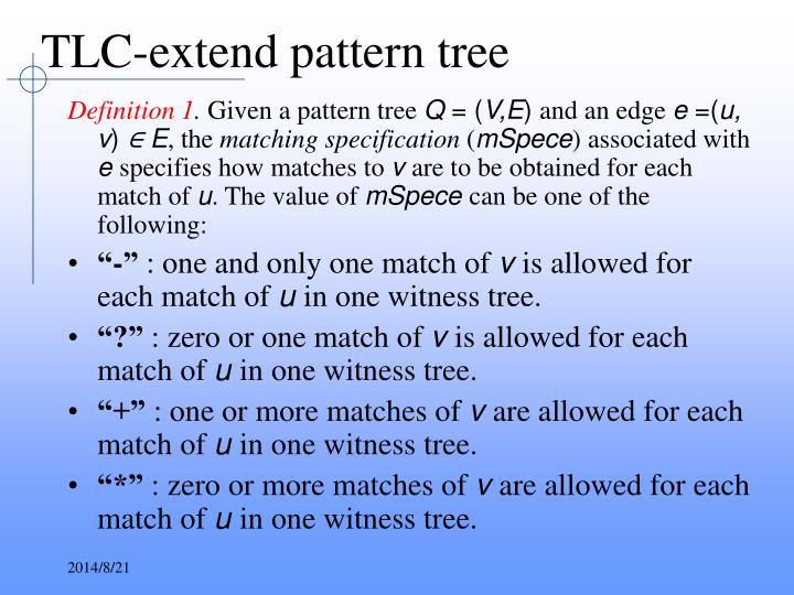 TLC-extend pattern tree