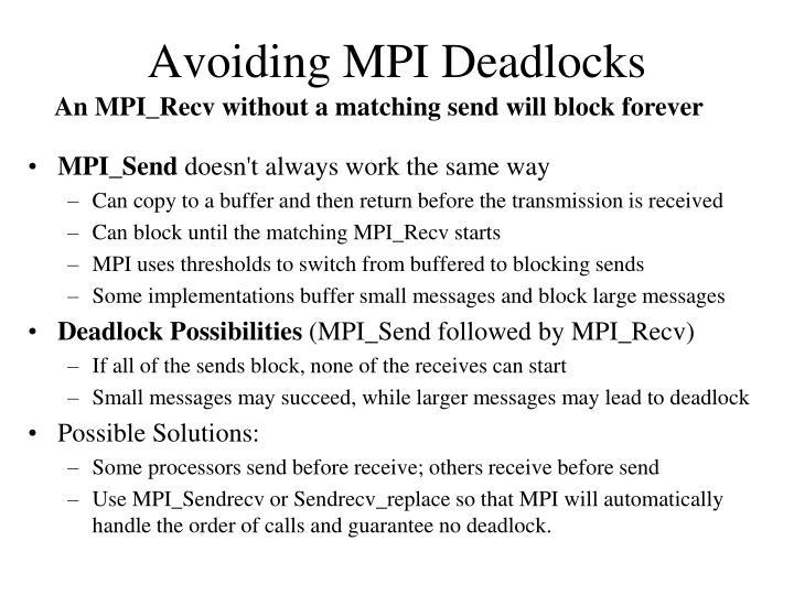 Avoiding MPI Deadlocks