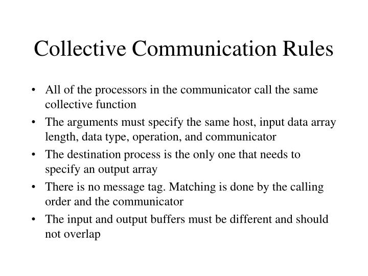 Collective Communication Rules