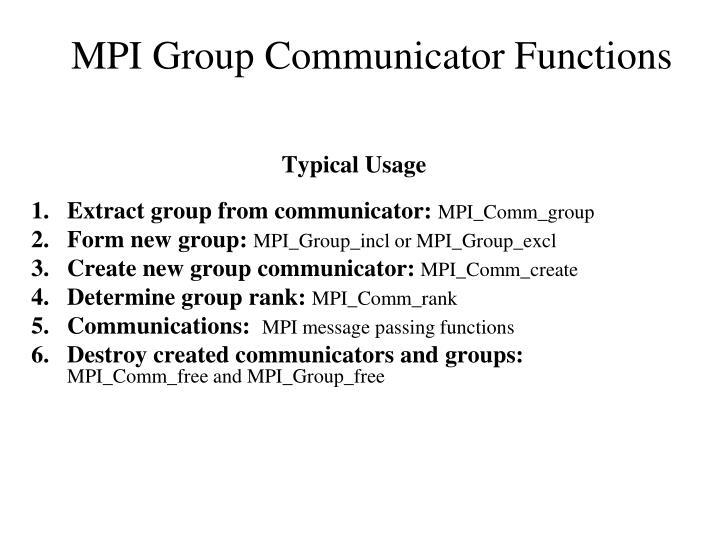 MPI Group Communicator Functions