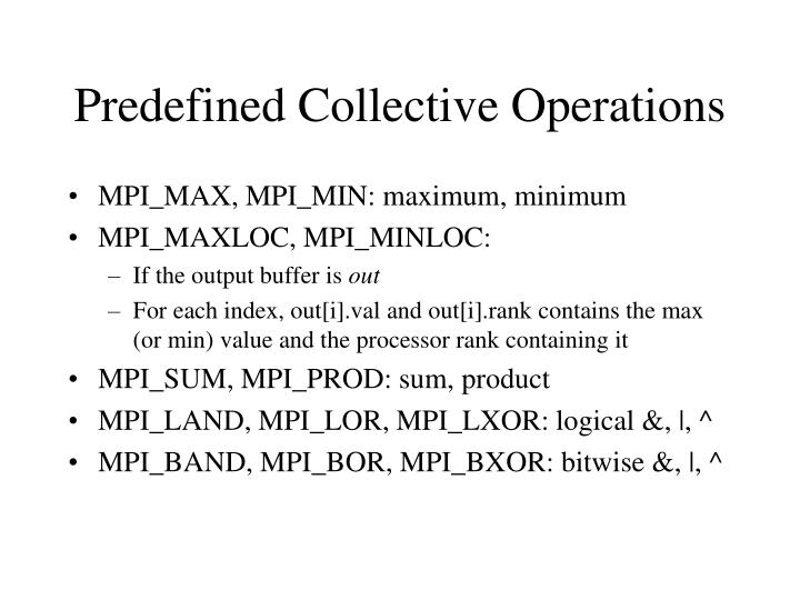 Predefined Collective Operations