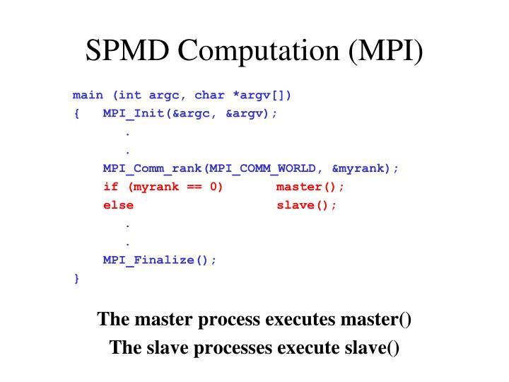 SPMD Computation (MPI)