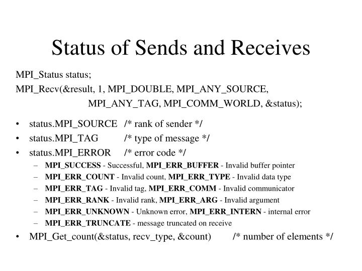 Status of Sends and Receives