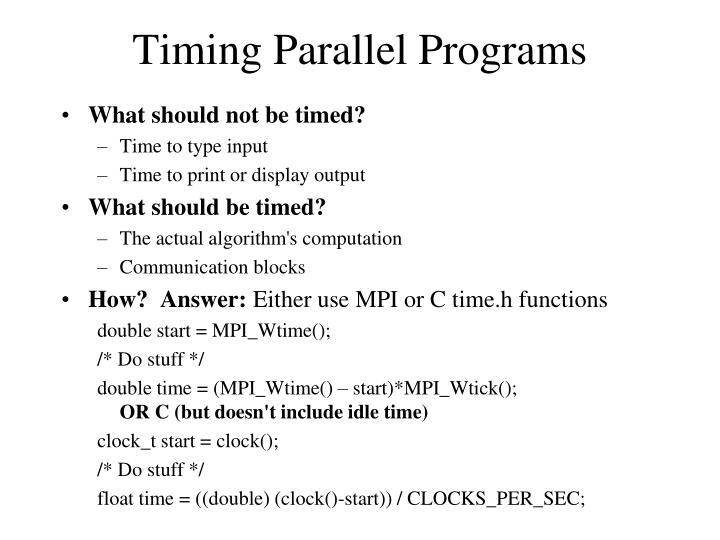 Timing Parallel Programs