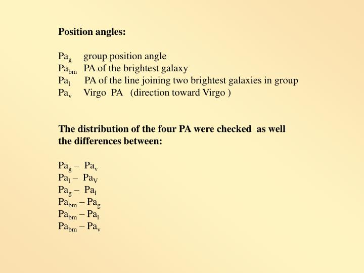 Position angles:
