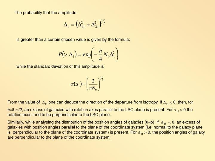 The probability that the amplitude: