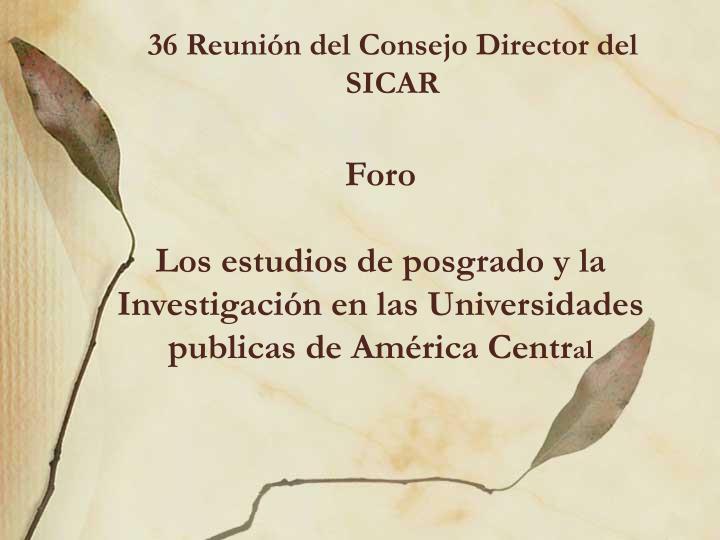 36 Reunión del Consejo Director del SICAR