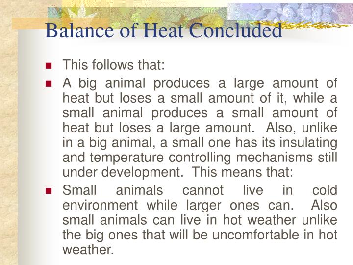 Balance of Heat Concluded