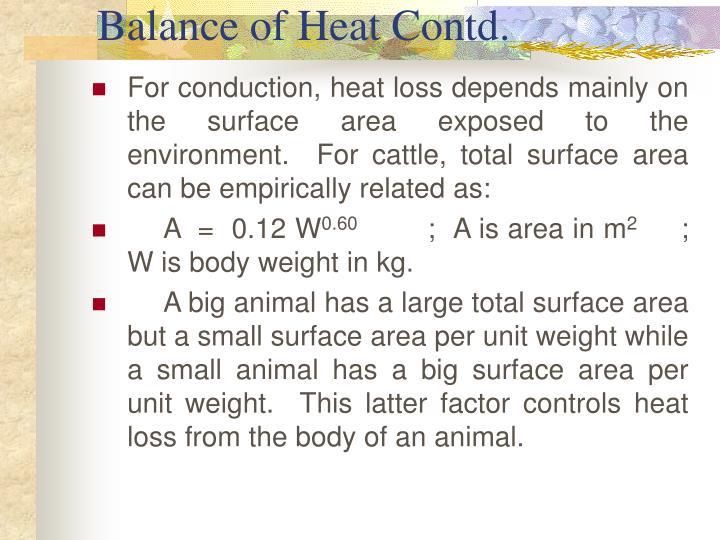 Balance of Heat Contd.