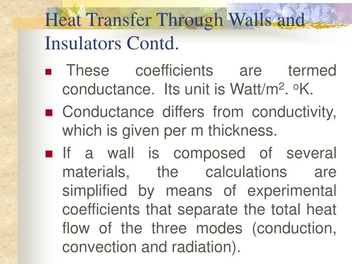 Heat Transfer Through Walls and Insulators Contd.