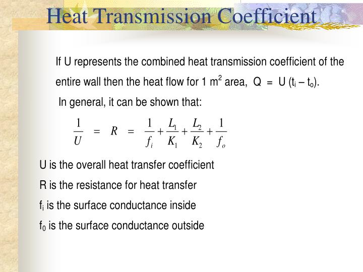 Heat Transmission Coefficient