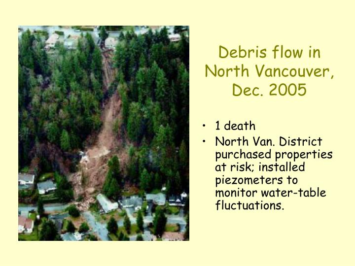 Debris flow in North Vancouver, Dec. 2005