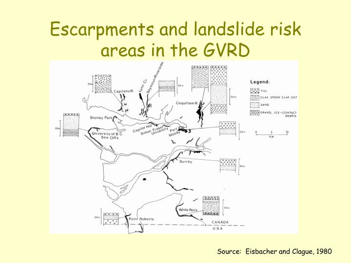 Escarpments and landslide risk areas in the GVRD