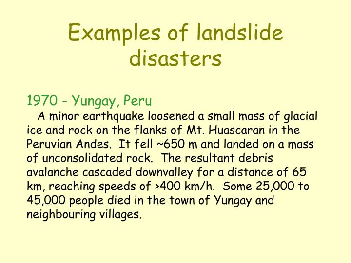 Examples of landslide disasters