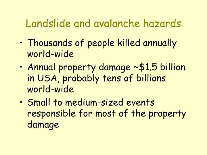 Landslide and avalanche hazards