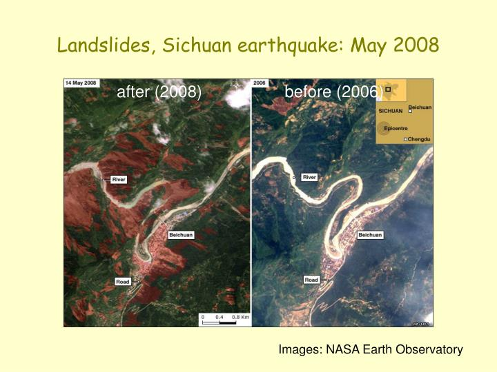 Landslides, Sichuan earthquake: May 2008
