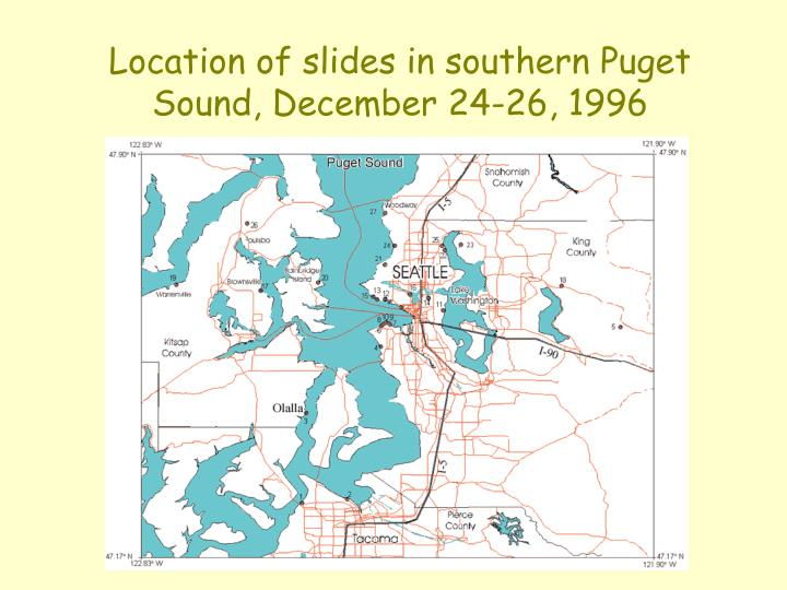 Location of slides in southern Puget Sound, December 24-26, 1996