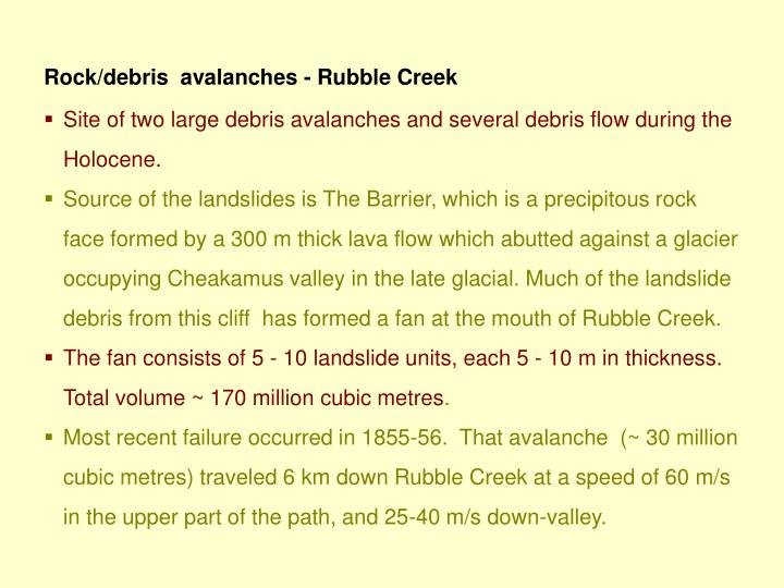 Rock/debris  avalanches - Rubble Creek