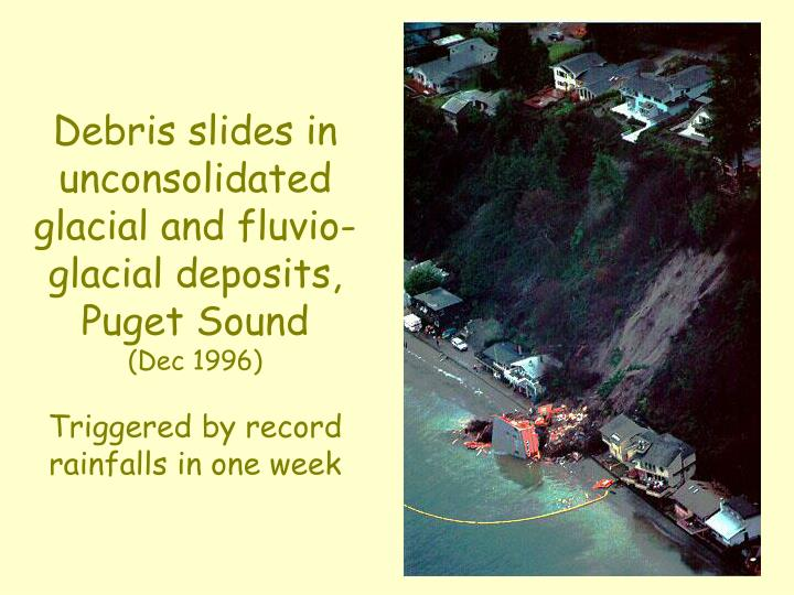 Debris slides in unconsolidated glacial and fluvio-glacial deposits,