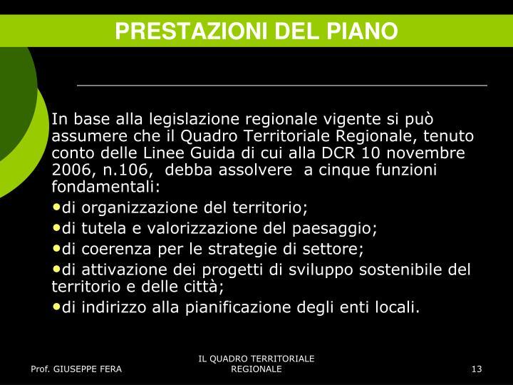 PRESTAZIONI DEL PIANO