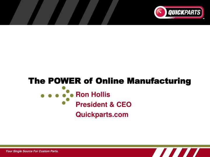 The POWER of Online Manufacturing