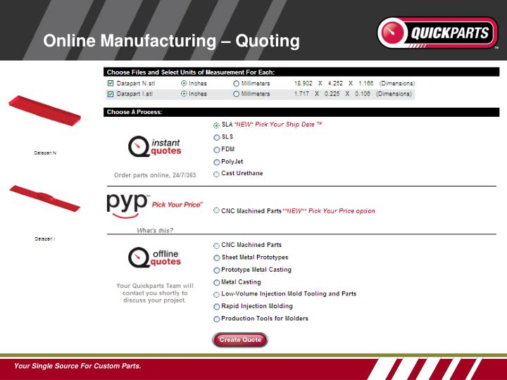 Online Manufacturing – Quoting