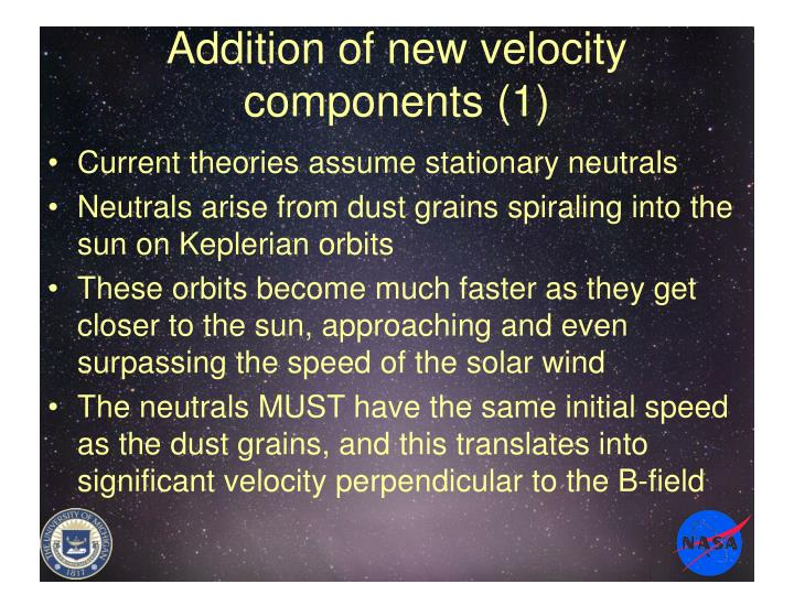 Addition of new velocity components (1)