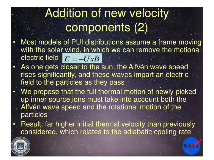 Addition of new velocity components (2)