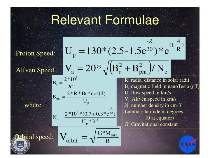 Relevant Formulae
