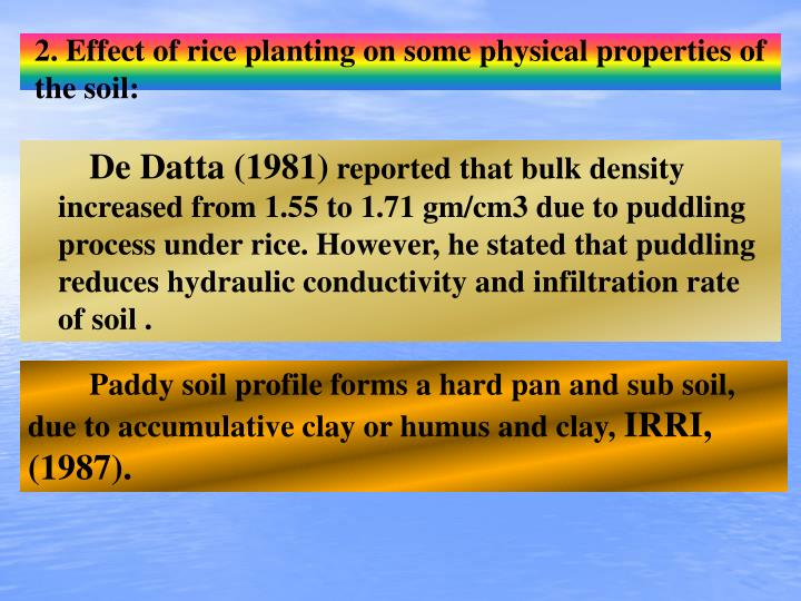 2. Effect of rice planting on some physical properties of the soil: