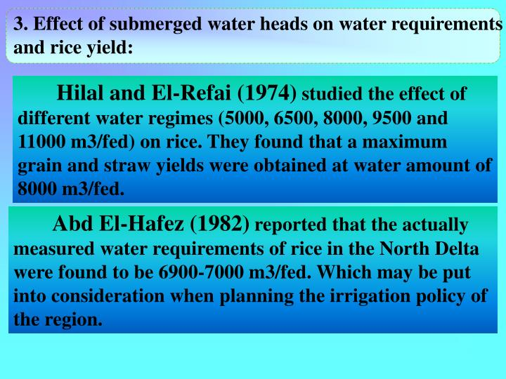 3. Effect of submerged water heads on water requirements and rice yield: