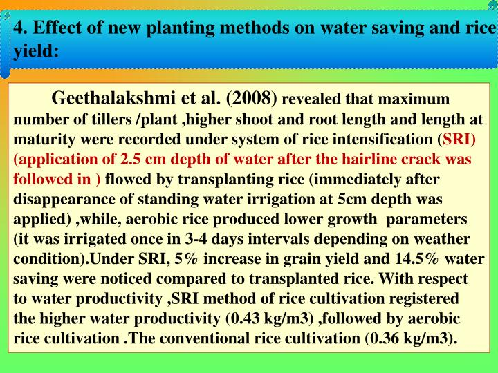 4. Effect of new planting methods on water saving and rice yield:
