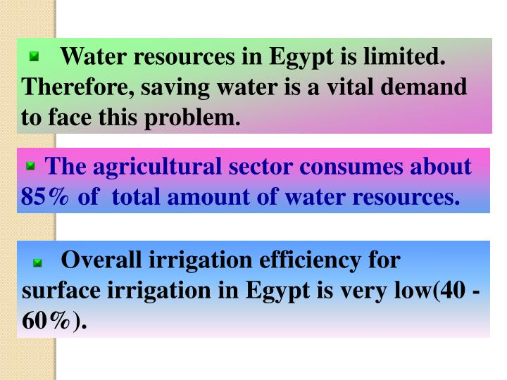 Water resources in Egypt is limited. Therefore, saving water is a vital demand to face this problem