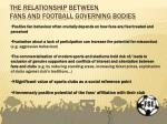 the relationship between fans and football governing bodies