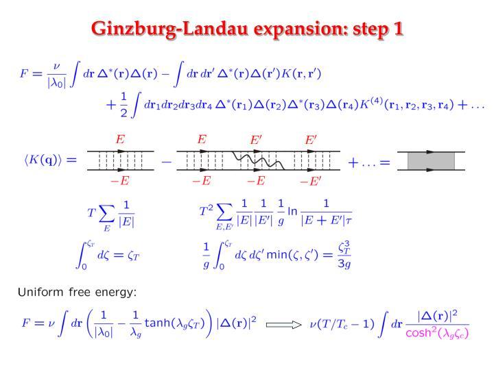 Ginzburg-Landau expansion: step 1