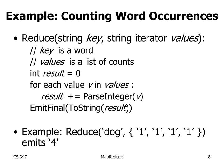 Example: Counting Word Occurrences
