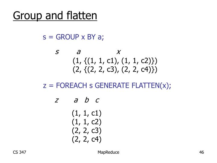 Group and flatten